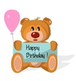 Bear toy with congratulation on a white background vector image