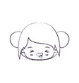 blurred thin silhouette of kawaii head little girl vector image vector image