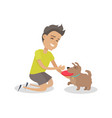 boy playing frisbee with his dog vector image