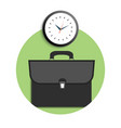 Briefcase and clock icons vector image vector image