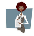 business woman pointing at document vector image vector image
