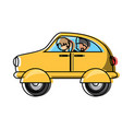 car with passengers vector image