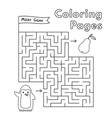 cartoon penguin maze game vector image