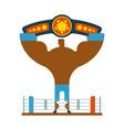 champion boxer winner hands up winning tournament vector image vector image