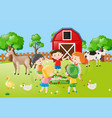 children holding hands in circle in the farm vector image vector image