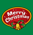 christmas badge with bell vector image vector image