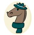 color portrait of man horse vector image