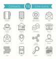 contacts line icons vector image vector image