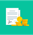 contract success deal or agreement with money vector image vector image