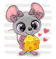 cute cartoon mouse girl with cheese vector image vector image