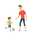 father and son playing football - cartoon people vector image