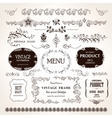 frames and design calligraphic elements set vector image