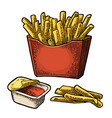 french fry stick potato in red paper box isolated vector image