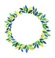 green leaves wreath watercolor frame vector image vector image
