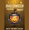 halloween party flyer with pumpkin with fire vector image