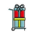 hand cart delivery with gift boxes shopping vector image vector image