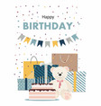 happy birthday card with teddy bear cake gifts vector image vector image