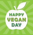 happy vegan day icon on rays background colorful vector image