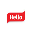 hello message concept badge design hi message vector image