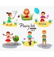 hildren playing character isolated vector image vector image