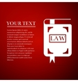 Law book flat icon on red background vector image vector image