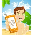 man on the beach with cream for sunburn vector image vector image
