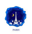 paris city of france in digital craft paper art vector image