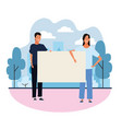 people with posters vector image