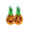 pinapples happy fruit kawaii icon image vector image vector image