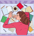pop art exhausted female student sleeping on desk vector image vector image