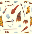 primitive people stoneage aboriginal primeval vector image