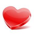 red shiny glass heart shape vector image vector image