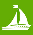 sailing ship icon green vector image vector image