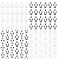 seamless patterns with cats muzzles and paws vector image