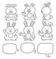 set of rabbit vector image