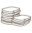silhouette stack slices bread bakery food vector image vector image