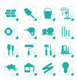 stylized construction and building icon set vector image vector image