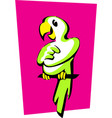 stylized image a cheerful green parrot vector image