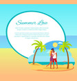 summer love web poster happy couple hugging palm vector image vector image