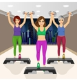 three beautiful young girls doing aerobic vector image vector image