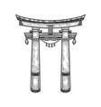torii japanese gate sketch vector image