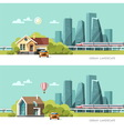 Traditional and Modern House Urban landscape vector image vector image