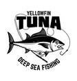 tuna fishing yellowfin and fishing rod vector image