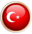 turkey flag on round badge vector image vector image