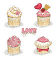 valentine day cupcakes vector image vector image