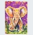 violet elephant gouache vector image