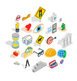 worry icons set isometric style vector image vector image