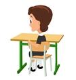 Schoolgirl sitting at a desk turning half-turned vector image