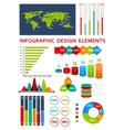 Graphs and charts with map for infographics design vector image