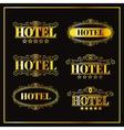 Hotel vintage golden labels vector image